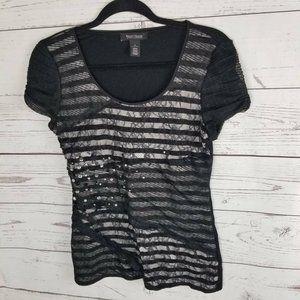 White House Black Market Womens T-Shirt Stripe Lac